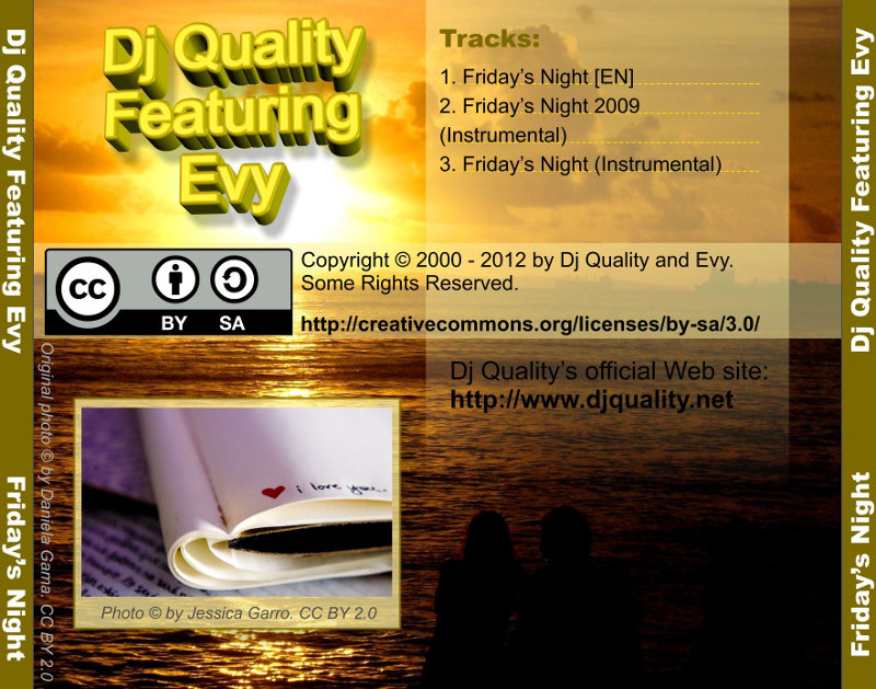 Dj Quality Featuring Evy - Friday's Night - Back Cover
